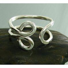 Sterling silver Om adjustable ring