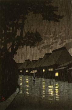 Rainy Night at Maekawa by Kawase Hasui (1883-1957)