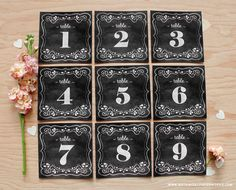 Free printable vintage style chalkboard table numbers @intimatewedding #freeprintables #tablenumbers