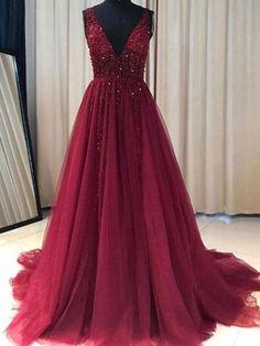 Burgundy Prom Dress A Line Simple Modest V-neck Long Prom Dress # VB1364