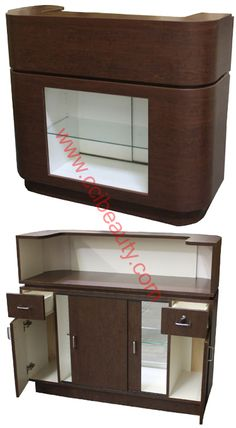 Reception Desk CC-7001-CM #receptiondesk #frontdesk #salon #spa #dayspa #barbershop #barber Small Reception Desk, Reception Desk Design, Boutique Spa, Boutique Design, Spa Design, Salon Design, Bistro Decor, Barbershop Design, Pharmacy Design