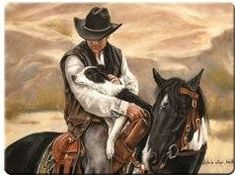 """COWBOY, HORSE & DOG"" TEMPERED GLASS CUTTING BOARD"