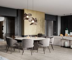 Captivating Modern Glamour In Grey, Gold And Green Home Interior Green Dining Room, Gray Dining Chairs, Dining Nook, Living Room Grey, Dining Table, Design Hall, Bar Design, House Design, Interior Modern