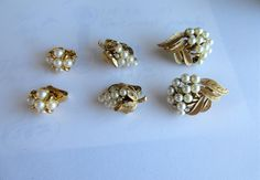 SOLD  Lot Of 3 SETS TRIFARI $18.00  Vintage PEARL Clip On Earrings-All Different by feathersoup on Etsy