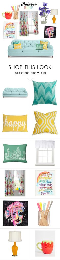 """""""Somewhere Over The Rainbow"""" by rawriamcayren ❤ liked on Polyvore featuring interior, interiors, interior design, home, home decor, interior decorating, Kate Spade, Dot & Bo, The Pillow Collection and Stupell"""