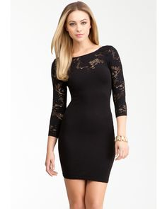 Shear lace detail at neckline, a classic scoop neckline and a lightweight stretch make this bebe bodycon dress a true party piece. Try it with a pair of well-held booties and a leather jacket for a quick after-dark look.