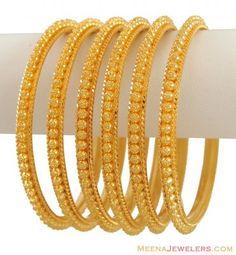 22K Yellow Gold Bangles (6 Pcs) ( Set of Bangles )