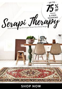 Ending Tonight: Up to 75% off & Free shipping on 500 Serapi rugs with the code: SERAPI50FB