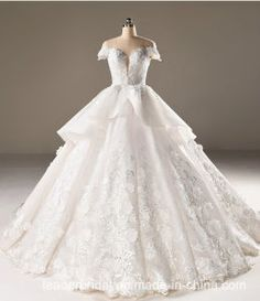 85831d0e7c9 Flora Bridal Ball Gowns Lace Tulle Short Sleeves Wedding Dress 2018 B32 on  Made-in
