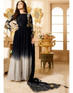 Drashti Dhami Black and Ash White #Anarkali #Suit