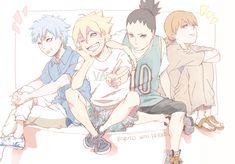 Tags: Fanart, NARUTO, PNG Conversion, Twitter, Uzumaki Boruto, Nara Shikadai, Yamanaka Inojin, Mitsuki (Naruto), 90096mg
