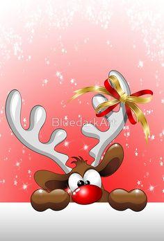 'Funny Christmas Reindeer Cartoon' Floor Pillow by BluedarkArt - Rentier basteln Diy Christmas Garland, 3d Christmas, Christmas Humor, Christmas Decorations, Cartoon Reindeer, Christmas Paintings, Wood Ornaments, Festival Lights, Diy Weihnachten