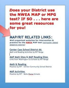 Does your District use the NWEA MAP or MPG test? IF SO . . . here are some great web-based resources sorted by RIT bands for you!  ***Was this helpful? Please let me know with a rating.***
