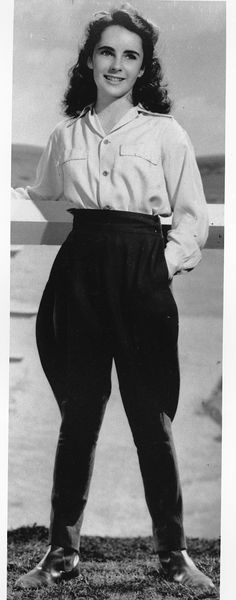 A young Liz Taylor looks great in these traditional flared breeches.