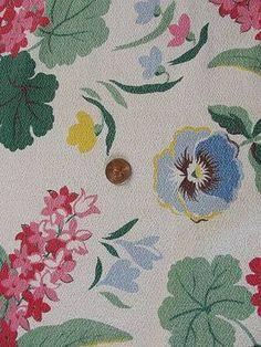 Vintage Pansy & Cottage Flower Barkcloth