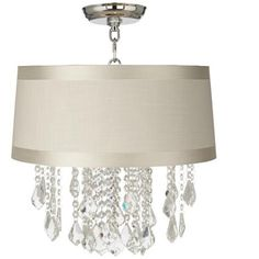 "Nicolli Clear 16"" Wide Off-White Drum Ceiling Light"
