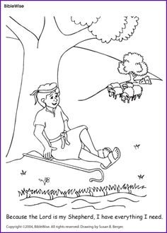 david psalm 23 coloring page kids korner biblewise - Psalm 23 Coloring Page