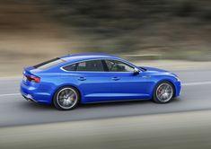 Blue audi a5, on road, side view, luxury car, 4k wallpaper