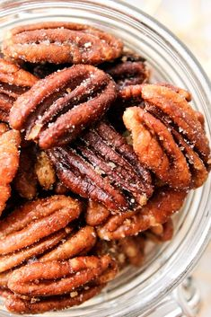 These Honey Roasted Pecans use simple ingredients and take less than 20 minutes to roast! Honey Roasted Pecans, Candied Pecans For Salad, Spiced Pecans, Toasted Pecans, Candied Nuts, Honey Glazed Pecans Recipe, Candied Bacon, Almonds, Ritz Cracker Dessert