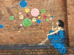 Lady in Blue. Street art at Bulimba ferry stop, Teneriffe Brisbane Australia