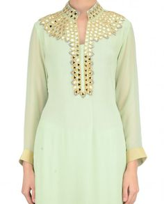 Mint Green Palazzo Suit with Mirror Work - Apparel