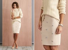 Spruce up your separates! Skip the cocktail dress this season and try wearing a pencil skirt with a tonal turtleneck. Experiment with texture, embellishments and proportions for the perfect combination of glam and sophistication. | Stitch Fix