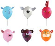 """Está divertida colección de """"Globos con caras de animalitos,"""" son ideales para decorar una fiesta temática de Safari, Arca de Noe, El Circo o El Zoo."""