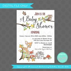 ♥ Baby Shower Invitation - Enchanted Forest Creatures ♥    Bring a little enchanted woodland whimsy into your baby shower with our Enchanted