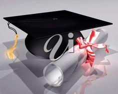 iCLIPART - 3D Clip Art Illustration of a mortar board and diploma tied with a ribbon