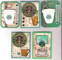 Sbux meets craftyness! Starbucks Crafts, Coffee Cup Crafts, Coffee Theme, Coffee Cards, Atc Cards, Pocket Letters, Artist Trading Cards, Creative Cards, Scrapbook Cards