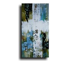 Large Abstract Cross Painting 24 x 12 Modern Religious