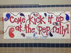 Pep rally poster for hallways School Spirit Posters, Cheer Posters, Football Posters, Pep Club, Cheer Coaches, Cheer Camp, Spirit Signs, Football Cheer, Pep Rally