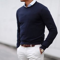 Die: cream chinos + braided belt + navy sweater + shirt