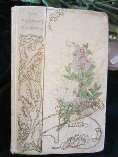vintage pilgrim's progress john bunyan book with lilac flower cover