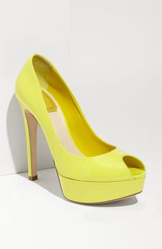 Now this is a Neon Pump I'd wear.. {Christian Dior - Miss Dior Peeptoe Platform Pump in Sorbet}