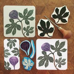 I ended up carving five different stamps in order to make this card. I could have made fewer I guess , but I wanted it to look like the sketch (plus I do enjoy carving as you might have noticed ). #viktoriaastrom #figtree