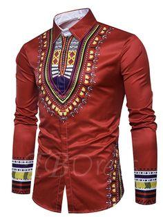 Enjoybuy Mens Shirts Dashiki Button Down Slim Fit Shirt African Ethnic Printed Long Sleeve Dress Shirt African Shirts For Men, African Dresses Men, African Attire For Men, African Clothing For Men, African Wear, Nigerian Men Fashion, African Men Fashion, Mens Fashion, Fashion Tips