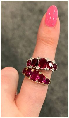 Two fantastic antique ruby five stone rings from Craig Evan Small. Spotted at the Vegas Antique Jewelry Show.