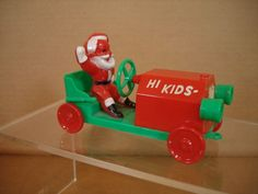 "Vintage Santa Claus in Hard Plastic Car ""Hi Kids, Here I Come"" 5 1/4"" Long N/R"