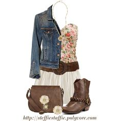 """Late Summer Denim & Florals"" by steffiestaffie on Polyvore"