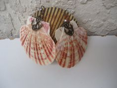 Natural Sea Shell Earrings with Anchor by GrannysInspirations, $10.00
