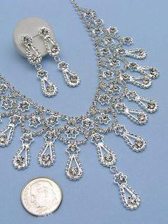 NEW Elegant Wedding Veil Crystal Necklace Set Tiara N3