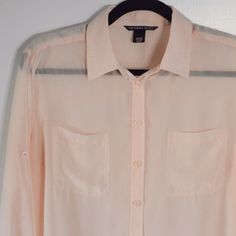 Light Pink Sheer Blouse Sheer blouse. Has a loose/oversized fit. Only worn a few times. Victoria's Secret Tops Blouses