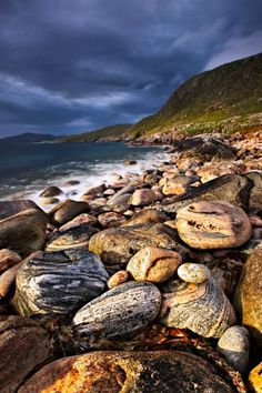 Scotland - Colourful patterned boulders under stormy sky, Isle of Harris, Outer Hebrides. Beautiful Places To Live, What A Beautiful World, Glen Coe, Isle Of Harris, Outer Hebrides, Scottish Highlands, British Isles, Rock Climbing, Great Britain