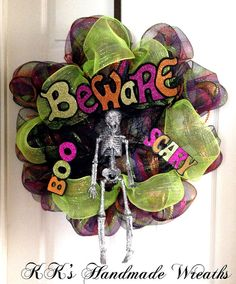 Beware Boo Scary Halloween Mesh Wreath 28 by KKsHandmadeWreaths, $40.00