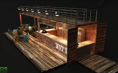 Container bar, would be sweet in a beer garden. Container Bar, Container Coffee Shop, Decoration Restaurant, Restaurant Seating, Restaurant Design, Cafe Restaurant, Container Buildings, Container Architecture, Shipping Container Design