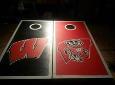 Hand Painted Wisconsin Badgers Cornhole Boards