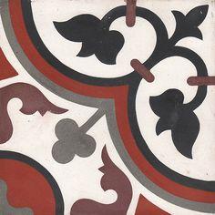 Palazzo Vintage Zementfliese Aliso White (20 x 20 cm, Schwarz/Rot/Braun/Weiß, Matt)
