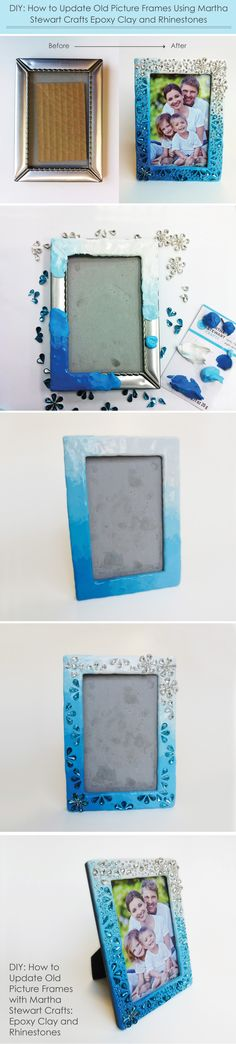 This is such a great way to update old, scratched picture frames: Use Martha Stewart Crafts Epoxy Clay and Rhinestones (found at Michaels Stores). So durable and sparkly!