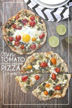 Corn Tomato Shisito Pepper Pizza @FoodBlogs